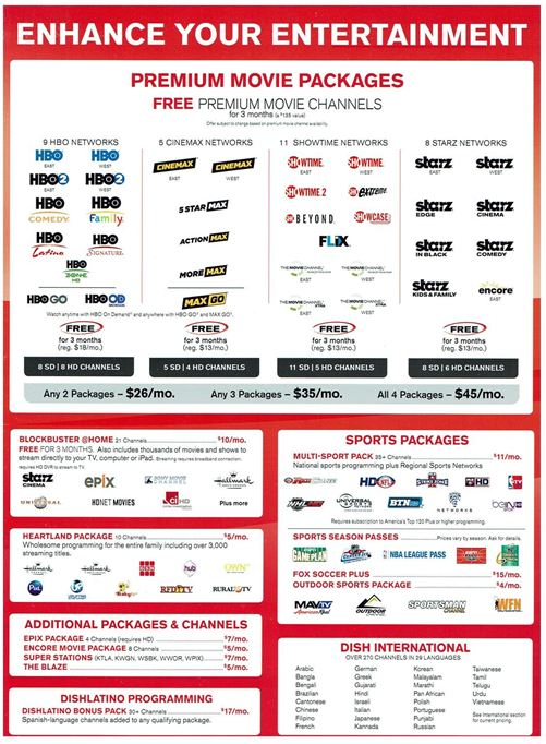 Dish Network Packages Take One System